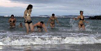 bathing in Arctic ocean